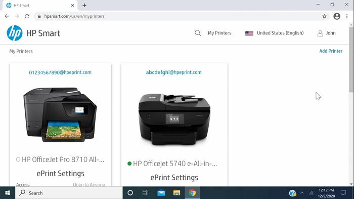 اتصال پرینتر به برنامه hp smart